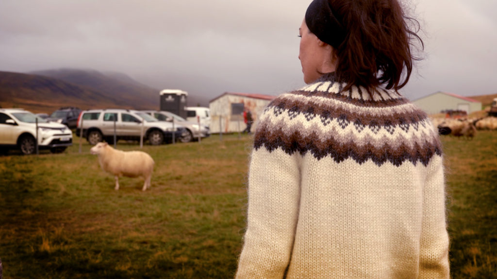 Cait Bagby in a Lopapeysa Sweater of Iceland. Discussing how the HandKnitting Association is paving the way for ethical clothing around the world.