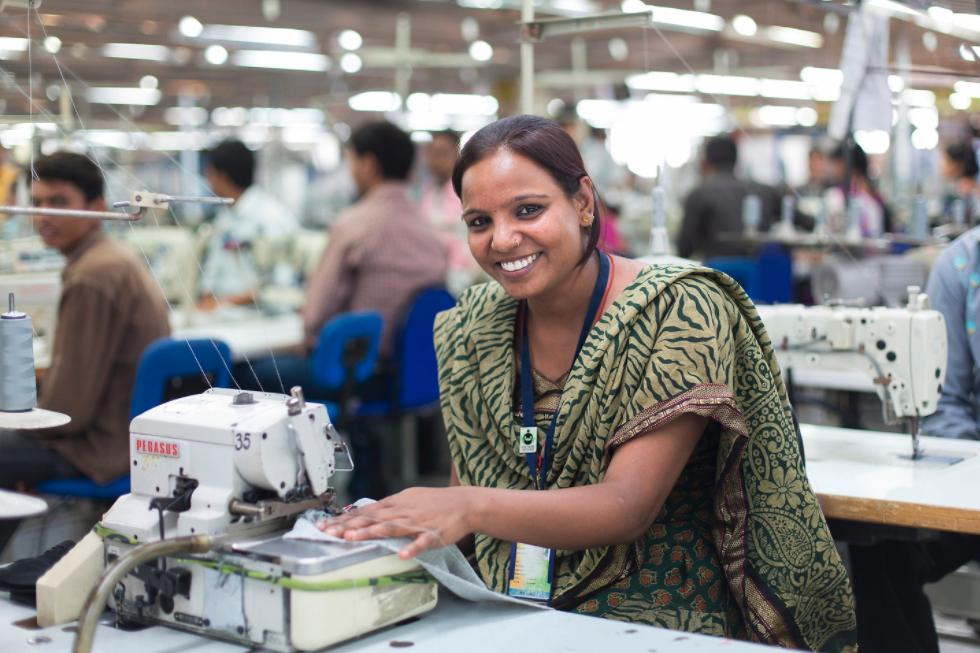 Woman in Uttar Pradesh Apparel factory for Fair Trade Apparel